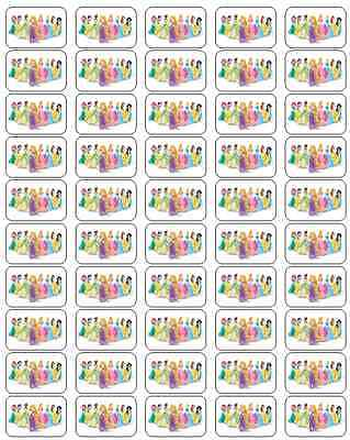 "50  Disney Princess Envelope Seals / Labels / Stickers, 1"" by 1.5"""
