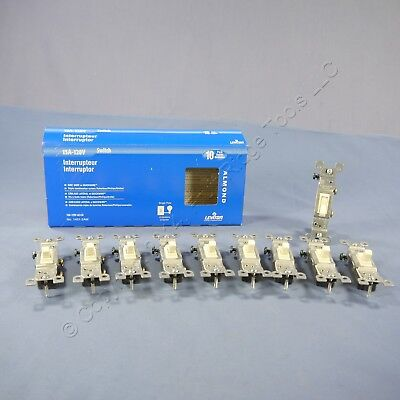 10 Leviton Residential Almond 1-Pole Quiet Toggle Light Switches 15A 1451-2AM