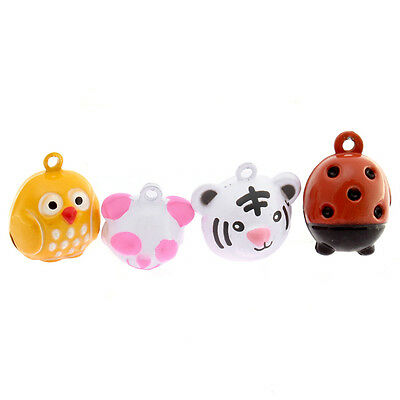 4pcs Mixed Lots Colorful Cartoon Animal Charms Jingle Bells Fit Christmas DIY D