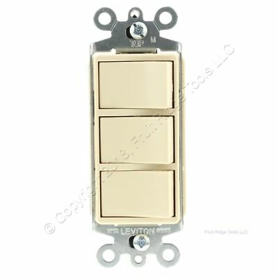 Leviton Ivory Decora Triple Rocker Single Pole Light Switch Triplex 15A 1755-I