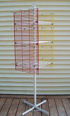 "Spinning Display Spin Rack 71"" 3-Shelves Hanging Pegs Retail Flea Market EUC"