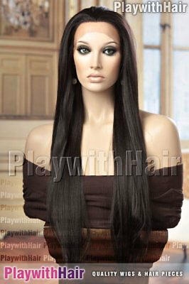 LAVISH Lace Front Wig Long Straight HEAT FRIENDLY OK SAFE Brown Black