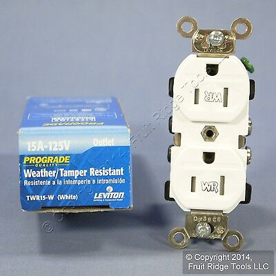 Leviton White Tamper/Weather Resistant Duplex Receptacle Outlet 15A 125V TWR15-W