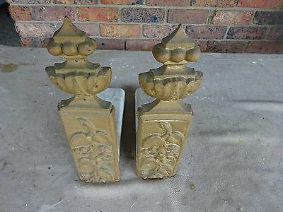2 Fireplace Dogs-Cast Iron & Marble