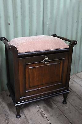 A Vintage Blackwood Piano Stool with Fall Front Compartment - Shoe Seat