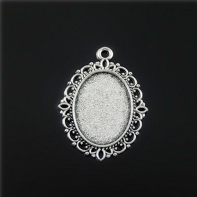 20x Vintage Silver Oval Shape Lace Alloy Cameo Setting Pendant Charms Findings