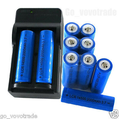 8x 2000mAh 14500 Rechargeable Li-ion NiMH Batteries For LED Flashlight+ Charger