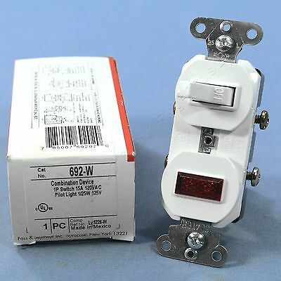 Pass and Seymour White Commercial Toggle Wall Switch 15A with Pilot Light 692-W