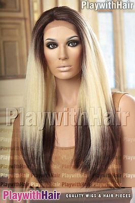 VOLUME!! Long Full Lace Front Wig Heat Safe Black Blonde Regrowth Ombre
