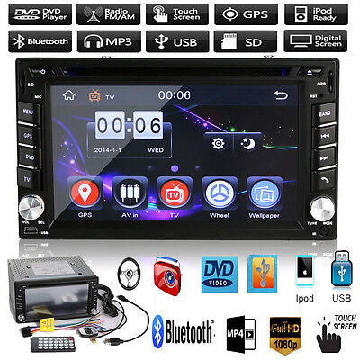 "HD 6.2"" Double 2Din In Dash Car Stereo DVD Player GPS Nav BT Radio iPod FM Touch"
