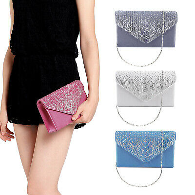 Ladies Evening Satin Bridal Diamante Womens Clutch Bag Party Prom Envelope