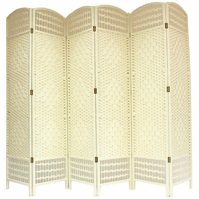 Sale - Hand Made Cream 6 Panel Wicker Room Divider  - Damaged Packet #392