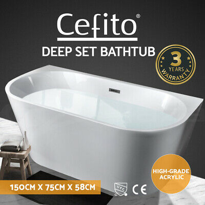 Cefito Free Standing Bath Tub Acrylic Bathroom Back To Wall SPA Tub 1500x750x580
