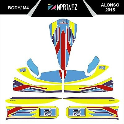 M4 2015 Fa Alonso Style Full Kart Sticker Kit To Fit M4 Bodywork - Karting - Otk