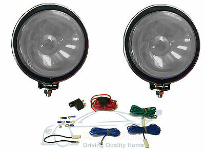 """2 X CLEAR 6"""" Chrome / Silver Twin Spot Lamps Lights + Wiring Kit for Car 4x4 Van"""
