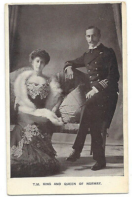 ROYALTY King and Queen of Norway, Old RP Postcard Unused