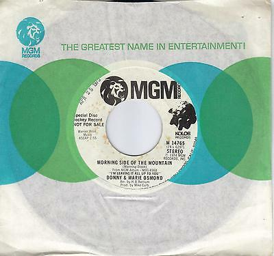 DONNY & MARIE OSMOND  Morning Side Of The Mountain  promo 45 from 1974