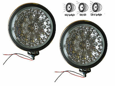 """2 x 6"""" CLEAR / CRYSTAL LED + HALOGEN SPOTLAMPS, TWIN SPOT LAMP KIT for Car etc."""