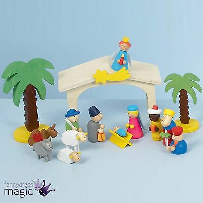 15 Piece Wooden Nativity Toy Stable Play Set Christmas Decoration Manger Story