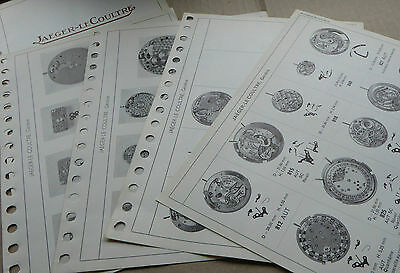 Jaeger-LeCoultre watch movements, basic data sheets, circa 1949/59, 4 pages.