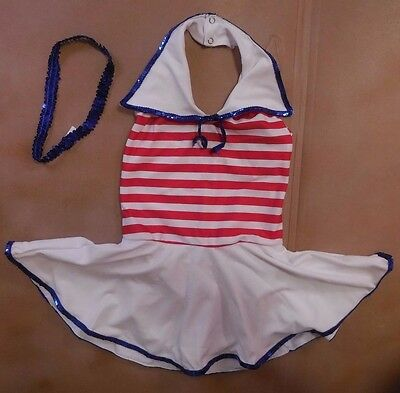 NWT red white blue tap costume Patriotic red white blue Sailor collar sequin trm
