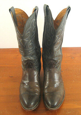 Mens Lizard Cowboy Boots Green Brown 2 toned Gray Blue Vintage Size 9 B Ticket