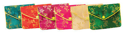 12 PCS Large Fancy Chinese Jewelry Pouches (ASSORTED COLORS)