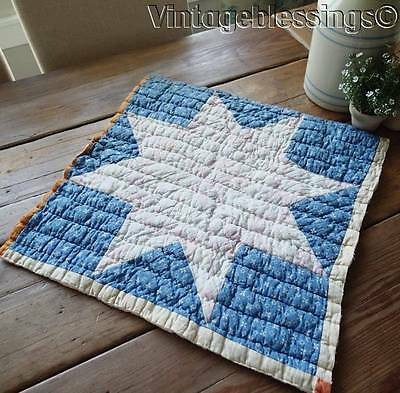 """Antique Large Star Cutter QUILT Piece D 21"""" Pillow or Table #3"""