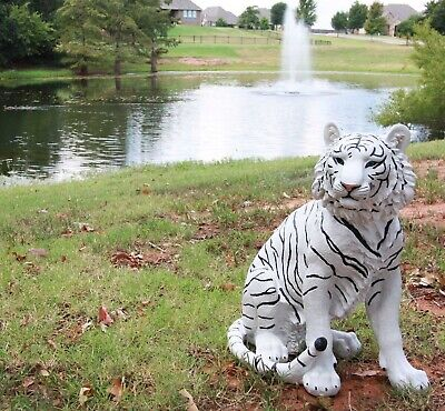 """Large 20"""" Tall Siberian White Tiger Sitting On Guard Decorative Garden Statue"""