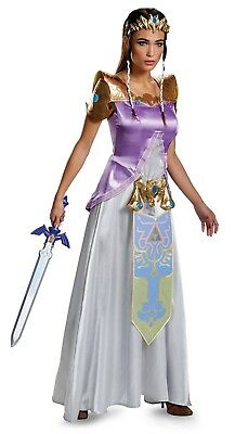 Legend of Zelda Deluxe Princess Adult Cosplay Costume Dress Crown S M L XL Women