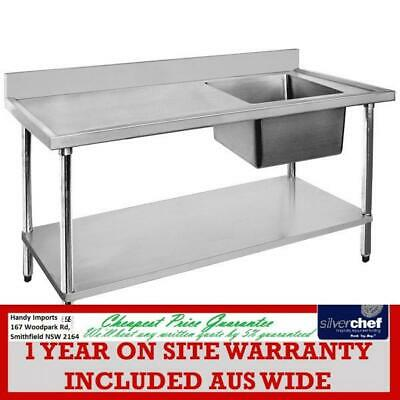 Fed Commercial 304 Grade Stainless Steel Single Sink Bench 600 Deep 1200-6-Ssbr