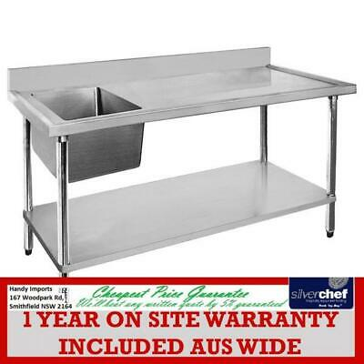 Fed Commercial 304 Grade Stainless Steel Single Sink Bench 600 Deep 1200-6-Ssbl
