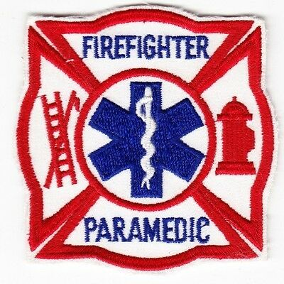 Firefighter Paramedic on White Twill Patch