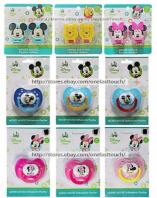 *BEST BRANDS 2 Pack PACIFIER HOLDERS w/Clip DISNEY BABY Fits Most *YOU CHOOSE*