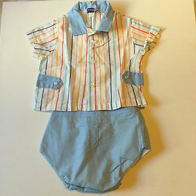Toddle Tyke Baby Boys 2 Piece Outfit Set, Vintage Boys Blue Diaper Cover Shorts