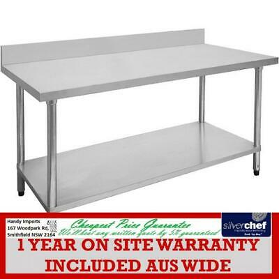 Fed Commercial Stainless Steel Grade 304 Table Bench High Splashback 0600-6-Wbb