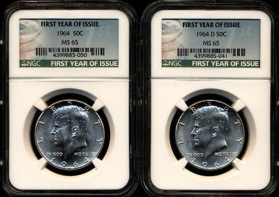 1964 P & D Ngc Ms65 Silver Kennedy Half Dollar First Year Issue 90% Jfk Coins
