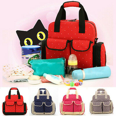 New 5PC Baby Diaper Nappy Changing Bag Mummy Shoulder Bag Backpack Tote Handbag