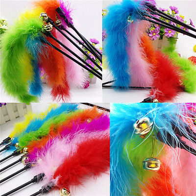 Funny Pet Kitten Cat Teaser Turkey Feather Activity Toy Wire Chaser Wand Toys