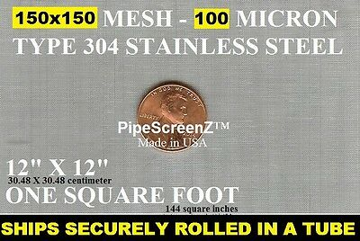 """12""""x12"""" 150 MESH / 100 MICRON  WOVEN WIRE MESH STAINLESS STEEL FILTRATION GRADE"""