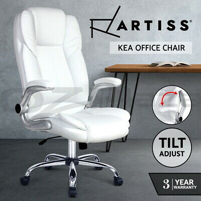 New Executive Premium Office Chair Faux Leather Retractable Armrests Seat White