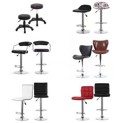 Set of 2x Faux Leather Breakfast Bar Stool Swivel Chairs Kitchen Barstools P9P9