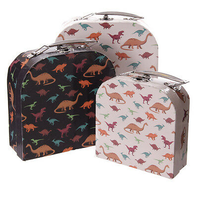 CHARMING SET of 3 CHILDREN'S DINOSAUR DESIGN CARD NESTING STORAGE CASES