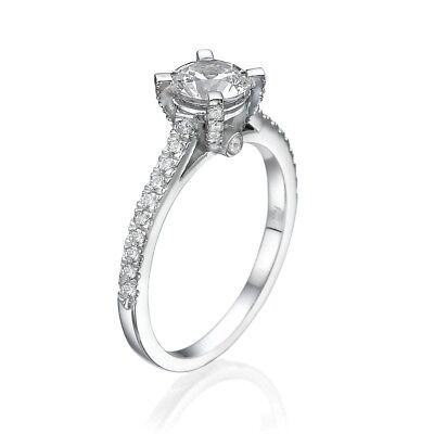 1 CT Solitaire Diamond Engagement Ring Round D/VS2 14K White Gold Enhanced
