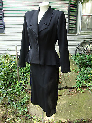 Fab 1940's Black Gab Suit with Flared, Dipped Peplum and Nipped Waist * S-M