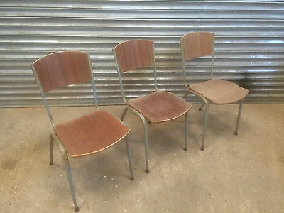 3 Vintage industrial tubular rustic school stacking chairs cafe restaurant