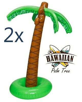 "(2) INFLATABLE PALM TREES 66"" Tall Luau Party Decoration Jungle Beach Tropical"
