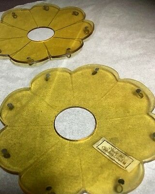 1 Pair OF VINTAGE CZECH CRYSTAL BOBECHE MARKED ANTIQUE AMBER 8-pin
