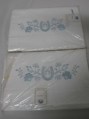 2 VTG POLAND WHITE LINEN TWIN FLAT SHEETS w EMBROIDERED LUCKY HORSESHOES MINT!