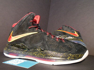 58f0abec526b Nike LEBRON X 10 EXT QS SUEDE PE PROMO SAMPLE BLACK RED GOLD MIAMI HEAT AWAY